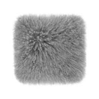 UGG® Mongolian Fur 16-Inch Square Throw Pillow in Seal Grey