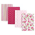 Hudson Baby® 4-Pack Rose Flannel Burp Cloths in Pink
