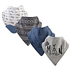 Yoga Sprout 4-Pack Little Man Bandana Bib With Teether in Grey