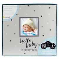 """Pearhead® """"Hello Baby"""" Stars Baby Memory Book and Sticker Set in Grey"""