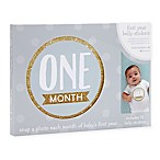 Little Blossoms by Pearhead Baby's First Year Monthly Belly Stickers in Gold/Grey