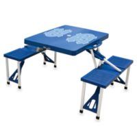 Picnic Time® Blue Collegiate Foldable Table with Seats - University of North Carolina