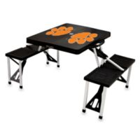 Picnic Time® Clemson University Collegiate Foldable Table with Seats in Black
