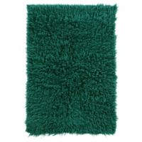 Linon Home Décor Products Flokati 1400 gram 2 x 4 Accent Rug in Emerald