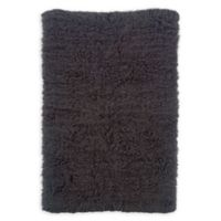 Linon Home Décor Products Flokati 1400 gram 2'4 x 4'3 Accent Rug in Grey