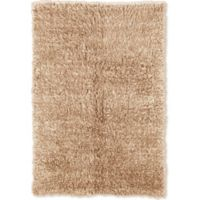 Linon Home Décor Products Flokati 1400 gram 2'4 x 4'3 Accent Rug in Tan