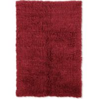 Linon Home Décor Products Flokati 1400 gram 2'4 x 4'3 Accent Rug in Red