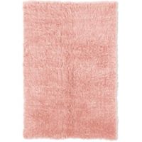 Linon Home Décor Products Flokati 1400 gram 2'4 x 4'3 Accent Rug in Pastel Pink