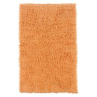 Linon Home Décor Products Flokati 1400 gram 5' x 8' Area Rug in Pumpkin