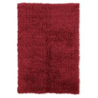 Linon Home Décor Products Super Flokati 2000 gram 5' x 7' Area Rug in Red