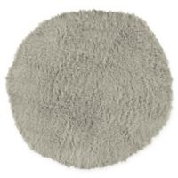 Linon Home Décor Products Flokati 1400 gram 8' Round Area Rug in Light Grey