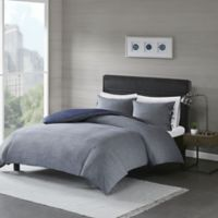 Madison Park Raven Full/Queen Duvet Cover Set in Denim Blue