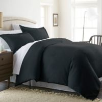 Solid Twin Duvet Cover Set in Black