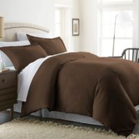 Solid Twin Duvet Cover Set in Chocolate
