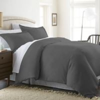 Solid King Duvet Cover Set in Grey