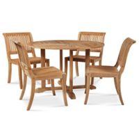 Hiteak Furniture Palm 5-Piece Dining Set in Teak