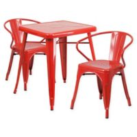 Flash Furniture 3-Piece Indoor/Outdoor Square Metal Dining Set in Red