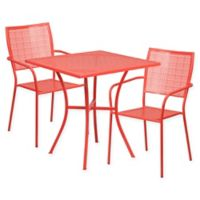 Flash Furniture 3-Piece Square Metal Patio Dining Set in Coral