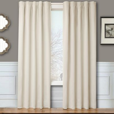 Blackout 84 Inch Window Curtain Panel Pair With Hardware In Natural