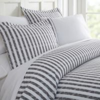 Rugged Stripes Queen Duvet Cover Set in Grey