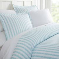 Rugged Stripes King Duvet Cover Set in Light Blue