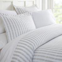 Rugged Stripes Queen Duvet Cover Set in Light Grey