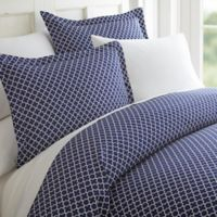 Home Collection Quatrefoil 2-Piece Twin Duvet Cover Set in Navy