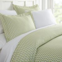 Puffed Chevron 3 Piece King Duvet Cover Set In Sage