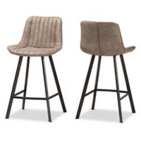 Baxton Studio® Metal Upholstered Bar Stool in Light Brown