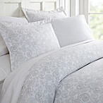 Home Collection Coarse Paisley Queen Duvet Cover Set in Light Grey