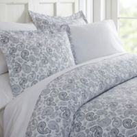 Home Collection Coarse Paisley King Duvet Cover Set in Navy