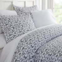 Home Collection Burst Vines King Duvet Cover Set in Navy
