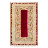 ECARPETGALLERY One of a Kind Caucasus Kula 4'11 x 7'8 Hand-Knotted Rug in Cream/Red