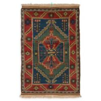 ECARPETGALLERY One of a Kind Antique Shiravan 3'9 x 5'7 Hand-Knotted Rug in Blue/Red