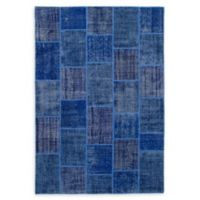 """ECARPETGALLERY Transition Patch 6'7"""" x 9'10"""" Hand-Knotted Area Rug in Blue"""