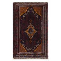 "ECARPETGALLERY Rizbaft Hand-Knotted 4'2"" x 6'10"" Area Rug in Red/Dark Navy"