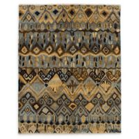 ECARPETGALLERY One of a Kind Ikat 7'11 x 9'11 Area Rug in Royal Light Blue/Tan