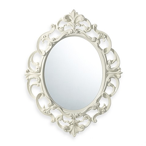 Baroque mirror in white bed bath beyond for Plastic baroque mirror