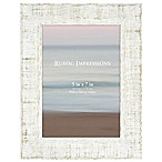 Rustic 5-Inch x 7-Inch Textured Wood Picture Frame in White