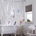 Stuffits Vinyl Shower Curtain with Mesh Pockets in Clear