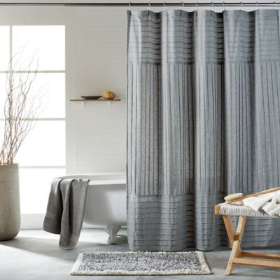 DKNY Pure Pintuck Shower Curtain In Heather Grey White