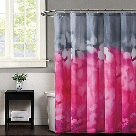 Christian Siriano Botanical Ombre Shower Curtain In Magenta Grey