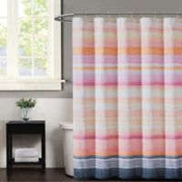 Christian Siriano Sunset Stripe Shower Curtain in Magenta/Grey