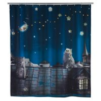 LED Moon Cat Shower Curtain