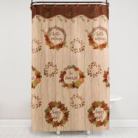 Autumn Wreath Shower Curtain and Hooks Set