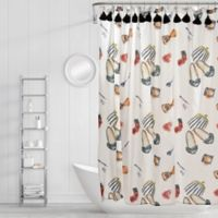 Simply Whimsical Wake and Makeup Shower Curtain in Black/Red