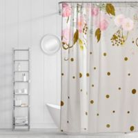Simply Whimsical Floral Confetti Shower Curtain in Blush/Gold