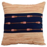 E by Design Nantucket Oar Center Stripe Square Throw Pillow in Navy