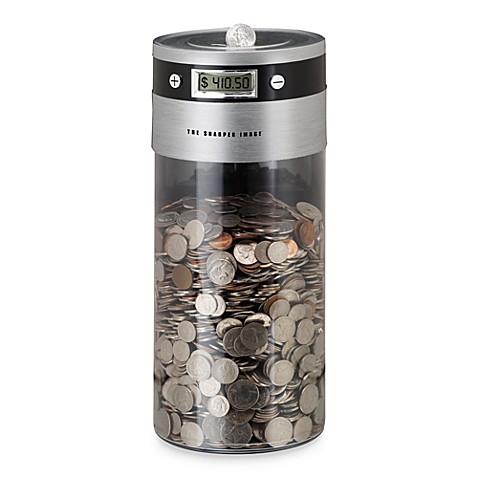 The sharper image digital coin counting bank bed bath beyond - Coin bank that counts money ...