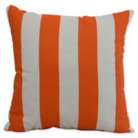 E by Design Nantucket Rugby Stripe Square Throw Pillow in Orange